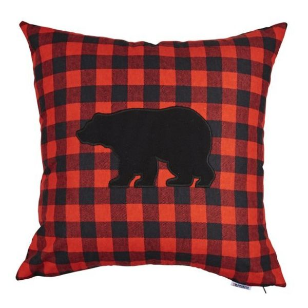 Buffalo Check Red and Black with Bear Cover